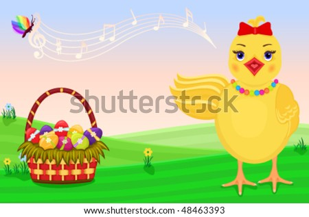 Cute chick singing for the celebration of Easter. Vector file saved as EPS AI8. - stock vector
