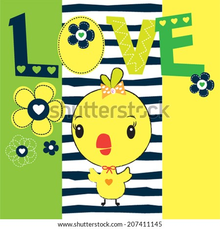 cute chick with flowers striped background vector illustration - stock vector
