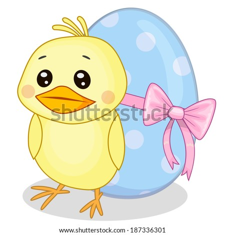 Cute chicken and egg with bow - stock vector