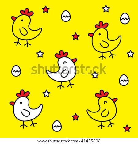 Cute Chicken Wallpaper Stock Vector 41455606