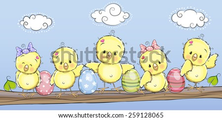 Cute chicken with eggs on the brunch - stock vector