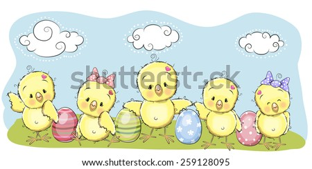 Cute chicken with eggs on the meadow - stock vector