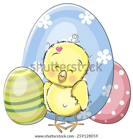 Cute chicken with three eggs on a white backgrond - stock vector