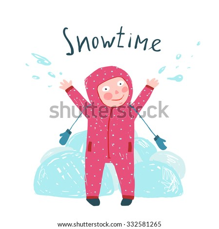 Cute Child Girl in Winter Clothes Playing with Snow Colorful Childish Cartoon. Happy kid in mittens and seasonal clothes for cold weather. Colorful kid hand drawn sketchy illustration. Vector cartoon. - stock vector