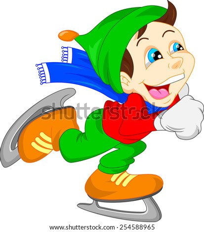 Cute child ice skating - stock vector