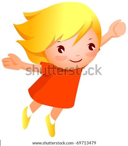 cute child jump - stock vector
