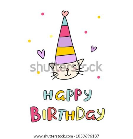 Cute childish birthday card cat hat stock vector 1059696137 cute childish birthday card with cat in a hat and inscription bookmarktalkfo Choice Image