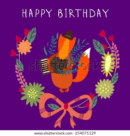 Cute childish card with Fox in vector. Happy birthday invitation background in bright colors - stock vector