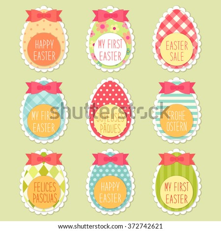Cute childish colorful textured Easter eggs with hand written text Happy Easter(in english, german, french and spanish), Easter Sale and My First Easter for your decoration - stock vector