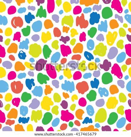 Cute childish crayon circles. Abstract circles. Hand painted seamless circles pattern. Abstract circle shapes in rainbow. - stock vector