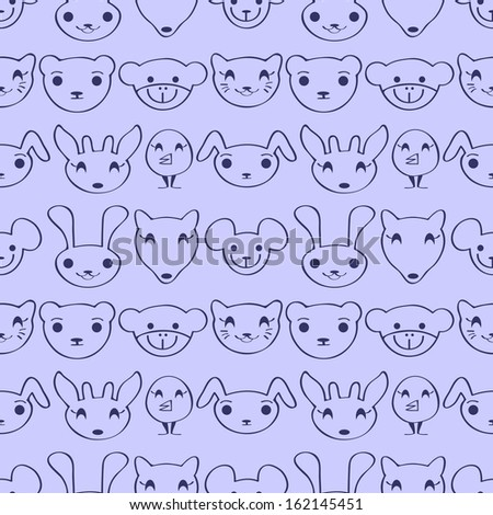 Cute childish seamless pattern with animal faces - stock vector