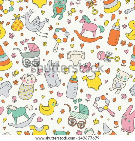 Cute childish seamless pattern with toys and other baby objects. Seamless pattern can be used for wallpapers, pattern fills, web page backgrounds,surface textures.
