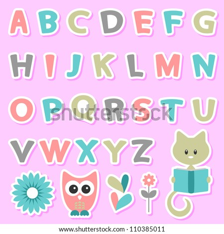 Cute childish stickers set with alphabet - stock vector