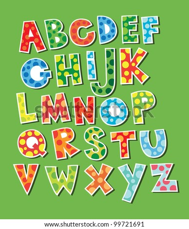 cute childlike alphabet. vector illustration - stock vector