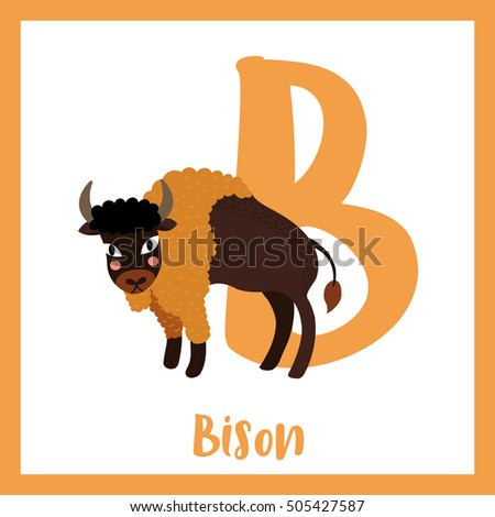cute children abc animal alphabet b stock vector 505427587