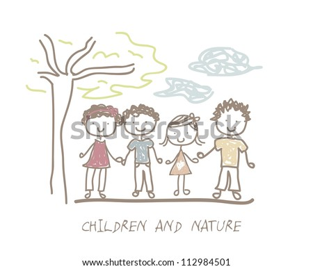 cute children and nature over white background. vector illustration - stock vector