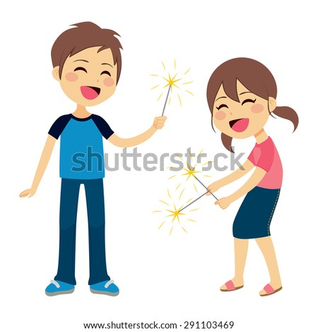 Cute children boy and girl playing with sparkler fireworks - stock vector