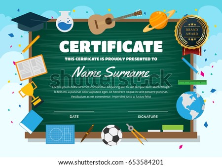 Cute children certificate achievement appreciation template stock cute children certificate of achievement and appreciation template education theme certificate yelopaper Choice Image