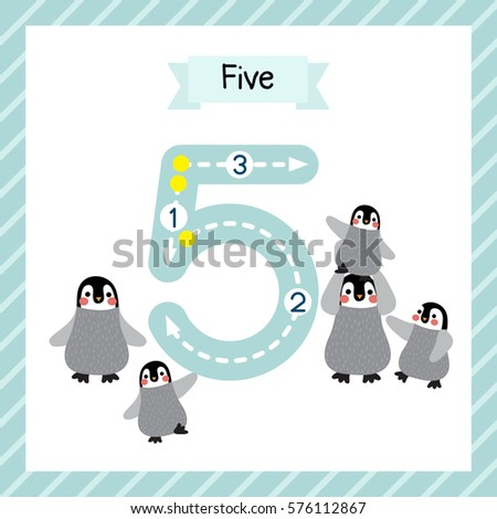 Cute Children Flashcard Number Five Tracing Stock Photo (Photo ...