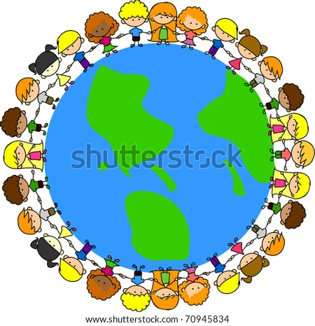 Unity People Around World Holding Hands Stock Vector 136362269 ...