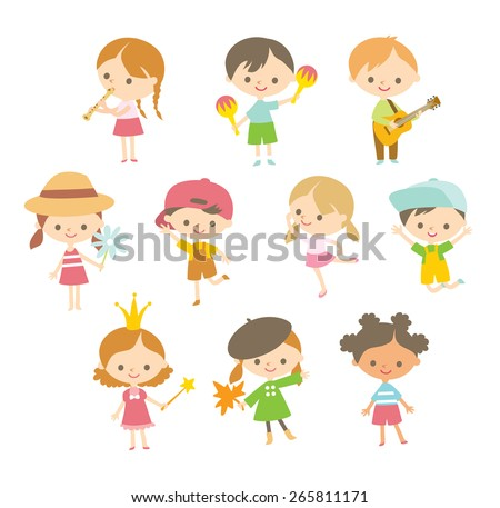 cute children in a simple style - stock vector
