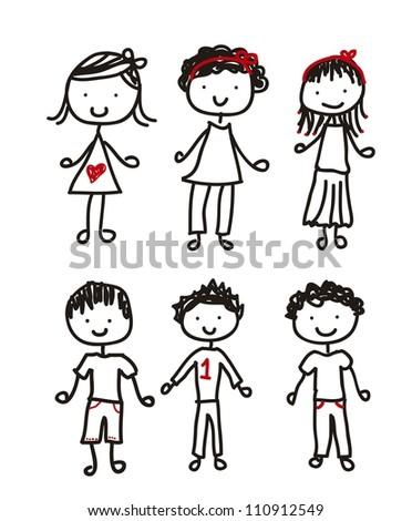 cute children isolated over white background. vector illustration - stock vector