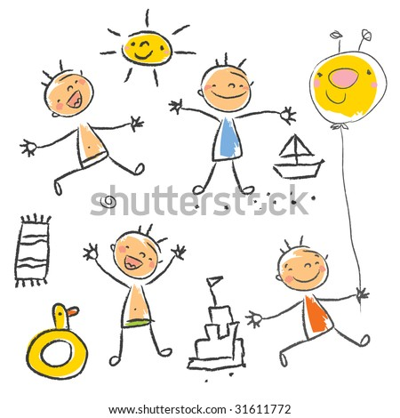 Cute children playing on the beach isolated. Kids drawing style vector, grouped and layered for easy editing. - stock vector
