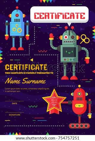 Cute children robotic class certificate achievement stock vector cute children robotic class certificate of achievement and appreciation template yelopaper Images