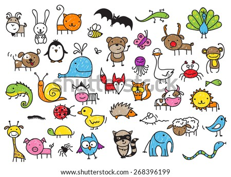 Cute children's drawing style animals collection - stock vector