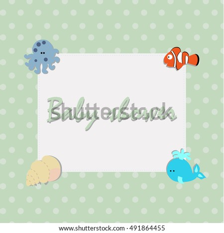 cute children's square frame in a marine style with sea animals. A template for an album page or scrapbook. Baby vector illustration. Greeting card or invitation