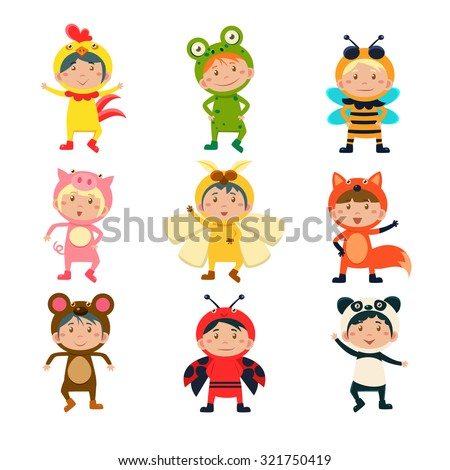 Cute Children Wearing Costumes of Animals Vector Illustration Set - stock vector