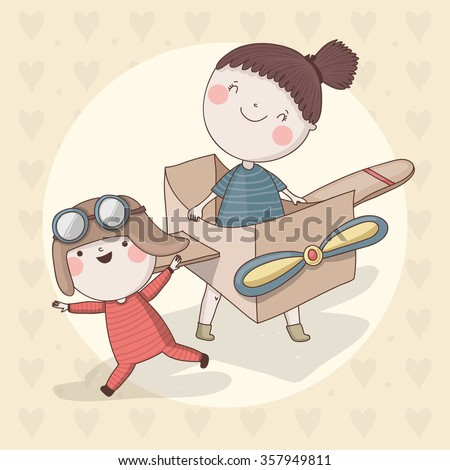 Cute children with different toys. Vector characters. - stock vector