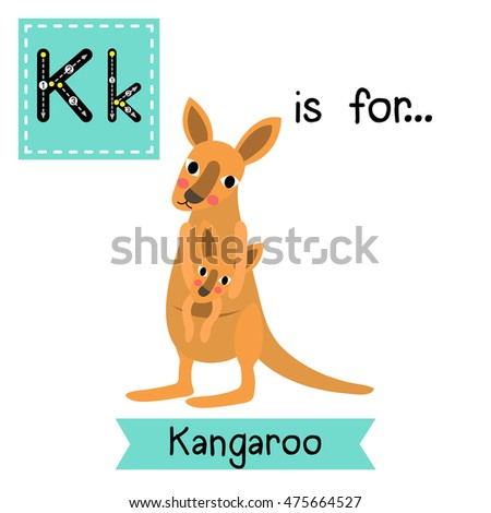 Cute Children Zoo Alphabet K Letter Tracing Of Kangaroo And Baby For Kids Learning English Vocabulary