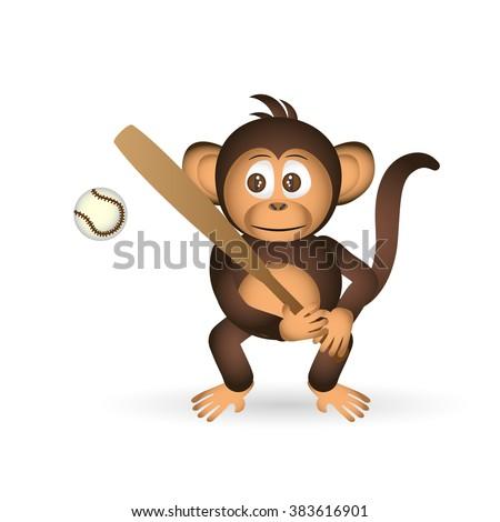 cute chimpanzee holding baseball bat sport little monkey  eps10 - stock vector
