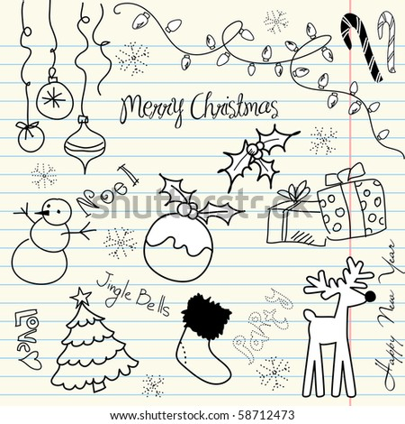 Cute Christmas and doodles - stock vector