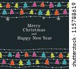 Cute Christmas and New Year card. Seamless borders. Vector illustration - stock vector
