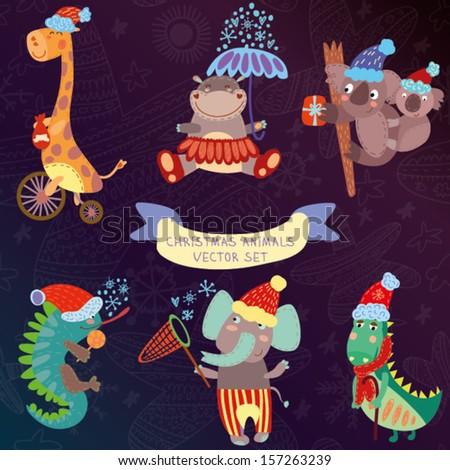 Cute Christmas Animal Set  with wild animals from Africa.iguana, giraffe, hippo, elephant, crocodile, koala - stock vector