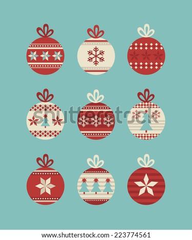 cute christmas balls set. vector illustration - stock vector