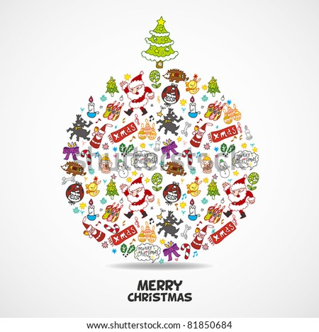 cute christmas card - stock vector