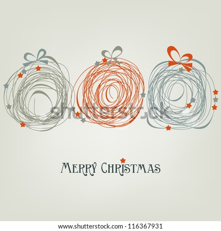 Cute Christmas card, abstract balls vector illustration - stock vector
