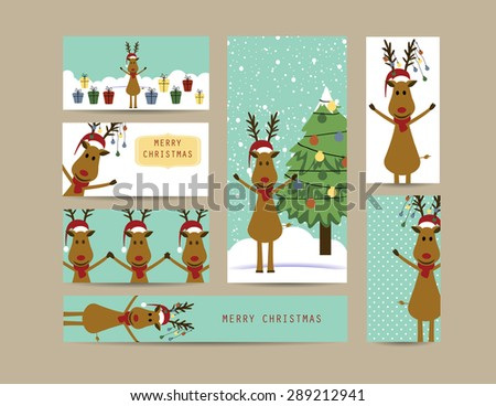 Cute christmas card and banners with reindeer - stock vector
