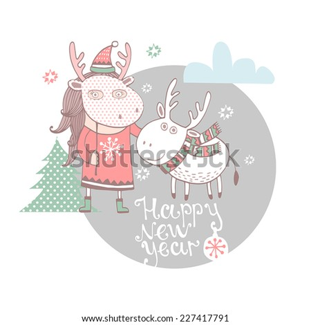 Cute christmas card in vector. Bright holiday background with small Girl and christmas deer .Happy New Year - stock vector