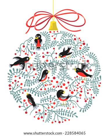 Cute Christmas card with decoration ball silhouette  - stock vector