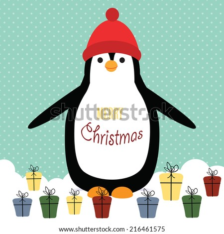 Cute christmas card with penguin and presents - stock vector