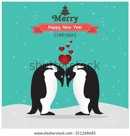 Cute christmas card with penguins - stock vector