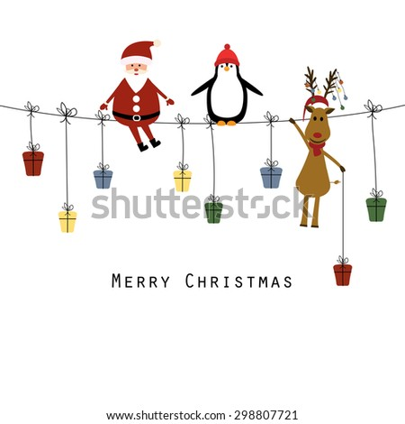 Cute christmas card with Santa, reindeer and penguin - stock vector