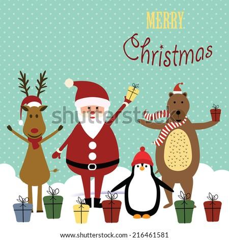 Cute christmas card with Santa, reindeer, bear and penguin - stock vector
