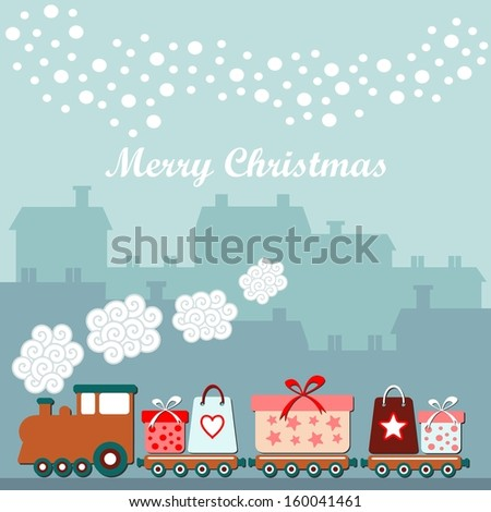 Cute christmas card with train, gifts, winter houses, falling snowflakes, vector illustration background - stock vector
