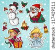 Cute Christmas characters - stock vector