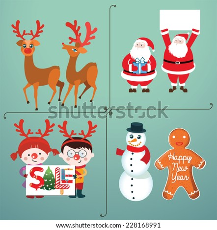 Cute Christmas Characters. - stock vector